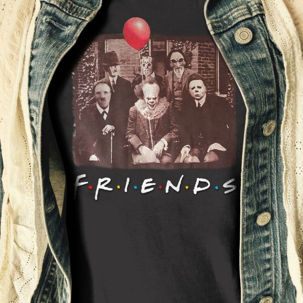 Horror Movies Character With IT and Red Balloon Shirt