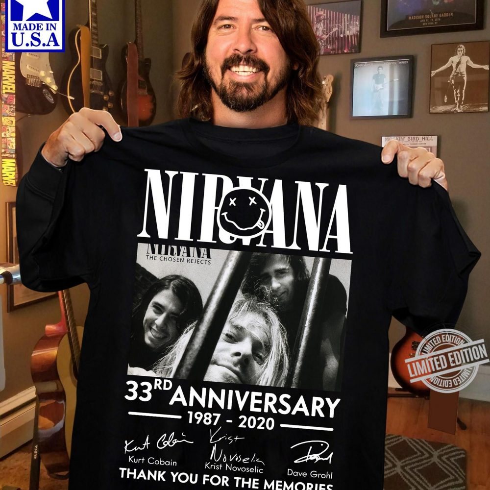 Nirvana 33rd Anniversary 1987 - 2020 Members Signature And Thank You For The Memories Shirt