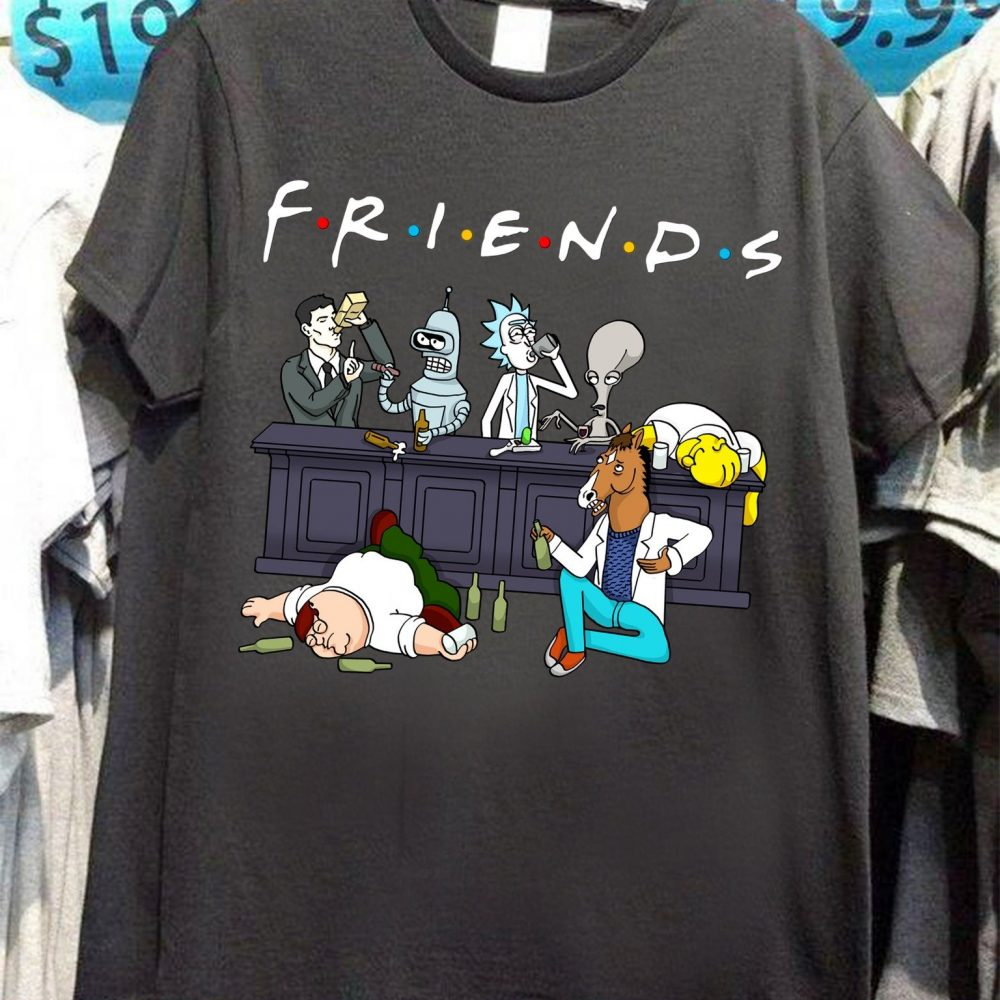 Rick And Morty Simpson Acoholic Friends Shirt