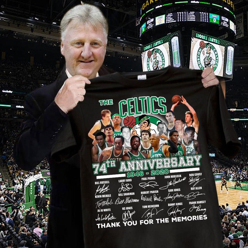The Celtics 74th Anniversary 1946 - 2020 Members Signature And Thank You For The Memories Shirt