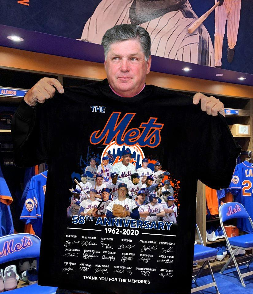 The Mets 58th Anniversary 1962 - 2020 Members Signature And Thank You For The Memories Shirt